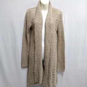 Croft & Barrow Tan Knit Long Duster Cardigan